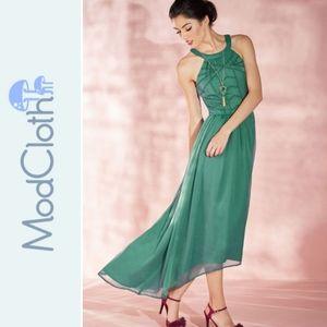 Modcloth emerald green high low dress XXS